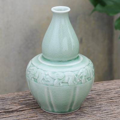 Celadon ceramic vase, 'Elephants and Flowers' - Artisan Crafted Celadon Ceramic Elephant-Themed Vase