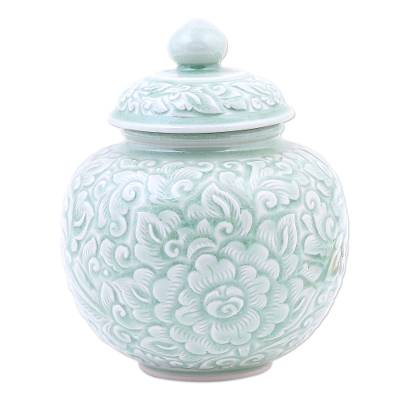 Hand Crafted Celadon Ceramic Floral-Themed Jar