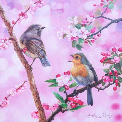 Acrylic on Canvas Realist Bird and Flower Painting