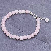 Rose quartz beaded bracelet, 'Sweet Night in Pink' - Rose Quartz and Karen Silver Beaded Bracelet