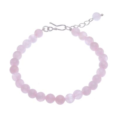 Rose quartz beaded bracelet, 'Sweet Night in Pink' - Rose Quartz and Karen Silver Beaded Bracelet