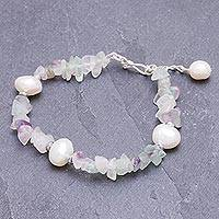 Cultured pearl and fluorite beaded bracelet, 'Mellow Night' - Cultured Freshwater Pearl and Fluorite Beaded Bracelet