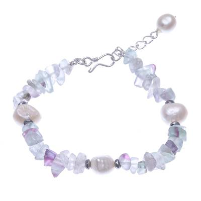 Cultured Freshwater Pearl and Fluorite Beaded Bracelet