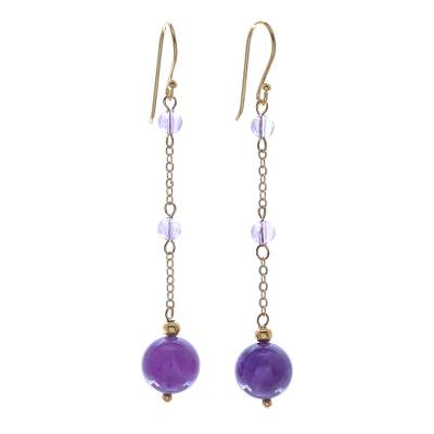 Hand Crafted Gold-Plated Amethyst Dangle Earrings