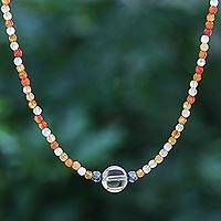 Multi-gemstone pendant necklace, 'Sunrise Hour' - Carnelian and Hematite Beaded Pendant Necklace
