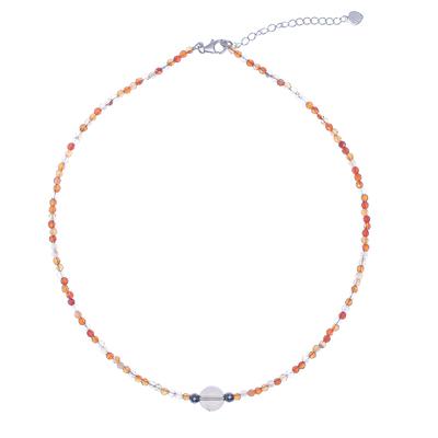 Carnelian and Hematite Beaded Pendant Necklace