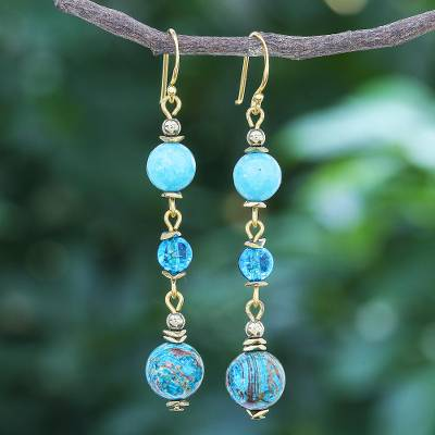 Gold-accented multi-gemstone dangle earrings, 'Elemental in Blue' - Gold-Accented Quartz and Jasper Dangle Earrings