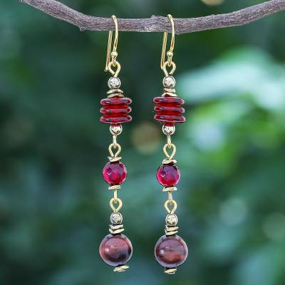 Gold-accented multi-gemstone dangle earrings, 'Elemental in Red' - Gold-Accented Tiger's Eye and Quartz Dangle Earrings
