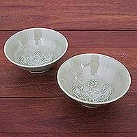 Celadon ceramic bowls, 'Flavorful' (pair) - Green Celadon Ceramic Lotus Flower Bowls (Pair)