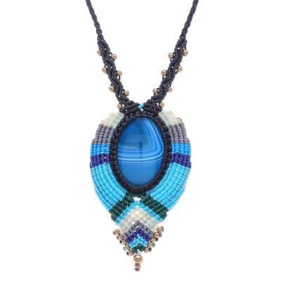 Macrame agate pendant necklace, 'Bohemian Rhapsody' - Hand Knotted Macrame Agate and Brass Bead Necklace