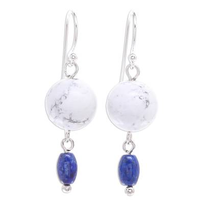 Hand Crafted Howlite and Lapis Lazuli Dangle Earrings