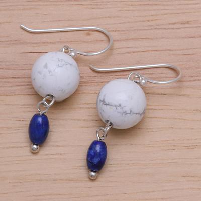 Howlite and lapis lazuli earrings