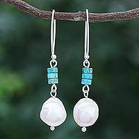 Cultured pearl dangle earrings, 'Sea Realm' - Cultured Pearl and Sterling Silver Dangle Earrings