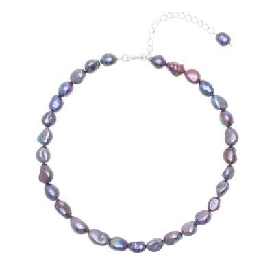 Cultured pearl choker necklace, 'Mermaid Gem in Peacock' - Blue Cultured Pearl and Sterling Silver Choker Necklace
