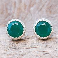 Onyx stud earrings, 'Petite Vert' - Green Onyx and Sterling Silver Stud Earrings