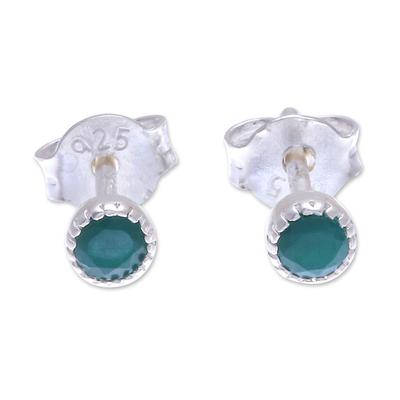 Onyx stud earrings, 'Petite Vert' - Green Onyx and Sterling Silver Stud Earrings