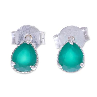 Onyx stud earrings, 'By the Dock' - Thai Green Onyx and Sterling Silver Stud Earrings