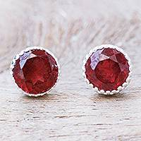 Garnet stud earrings, 'Cabernet Drop' - Thai Garnet and Sterling Silver Stud Earrings