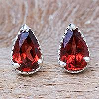Garnet stud earrings, 'Wine Drop'