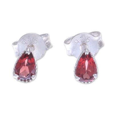 Garnet stud earrings, 'Wine Drop' - Hand Made Garnet and Sterling Silver Stud Earrings