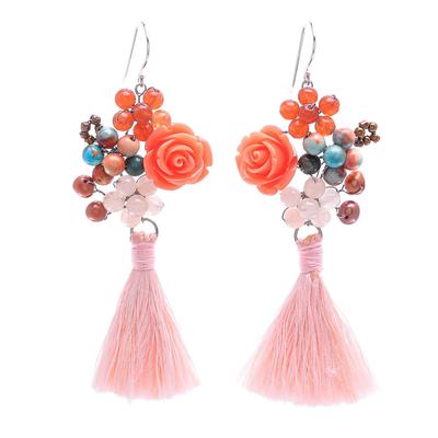 Agate and Cultured Freshwater Pearl Dangle Earrings