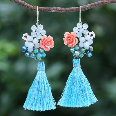 Multi-gemstone dangle earrings, 'Candy Bouquet in Blue' - Chalcedony and Cultured Pearl Dangle Earrings