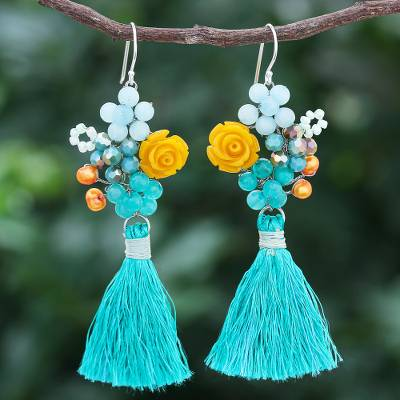 Quartz and cultured pearl dangle earrings, Candy Bouquet in Turquoise