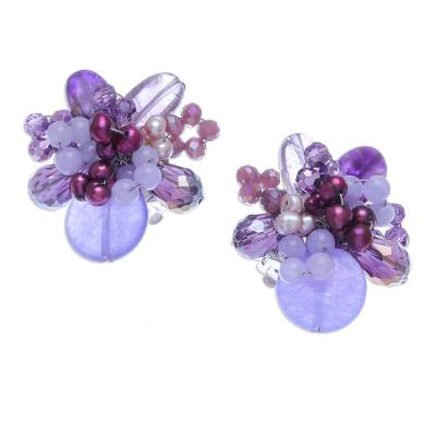 Amethyst and Cultured Pearl Cluster Clip-On Earrings