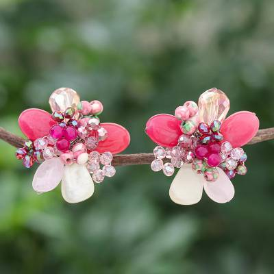 Multi-gemstone clip-on earrings, 'Solaris in Pink' - Agate and Rose Quartz Cluster Clip-On Earrings