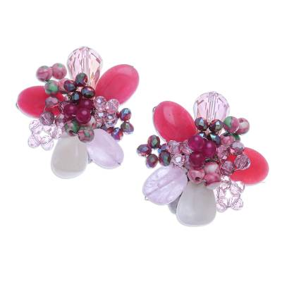 Agate and Rose Quartz Cluster Clip-On Earrings