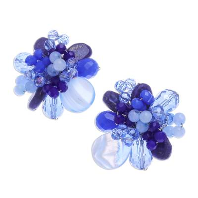 Agate and Lapis Lazuli Cluster Clip-On Earrings