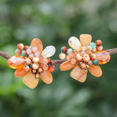 Multi-gemstone clip-on earrings, 'Solaris in Orange' - Quartz and Cultured Pearl Cluster Clip-On Earrings