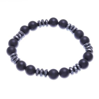 Hand Crafted Onyx and Hematite Beaded Bracelet