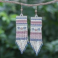 Glass beaded waterfall earrings, 'Curtain in Blue' - Hand Crafted Glass Bead Waterfall Earrings