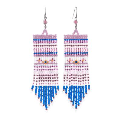 Tourmaline waterfall earrings, 'Curtain in Pink' - Tourmaline and Glass Bead Waterfall Earrings