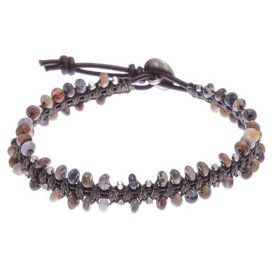 Macrame agate beaded bracelet, 'Spiritual Side in Green' - Handmade Macrame Agate and Leather Cord Bracelet