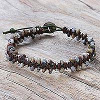 Macrame agate beaded bracelet, 'Spiritual Side in Brown' - Hand Knotted Macrame Agate and Leather Cord Bracelet