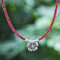 Quartz pendant necklace, 'Color Sense in Red' - Quartz and Karen Silver Pendant Necklace