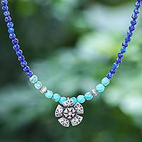 Lapis lazuli pendant necklace, 'Color Sense in Blue' - Lapis Lazuli and Karen Silver Pendant Necklace