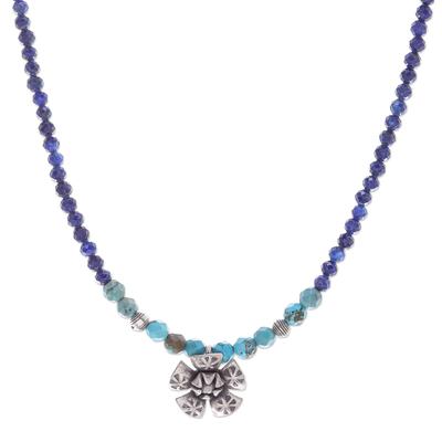 Lapis lazuli pendant necklace, 'Color Sense in Blue' - Lapis Lazuli and Karen Silver Pendant Necklace