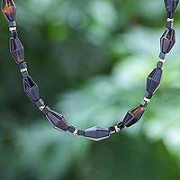 Multi-gemstone beaded necklace, 'Windy Night' - Hand Crafted Agate and Onyx Beaded Necklace