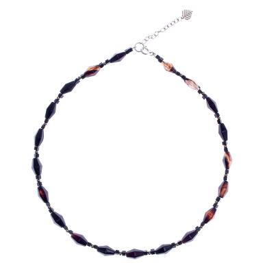 Hand Crafted Agate and Onyx Beaded Necklace