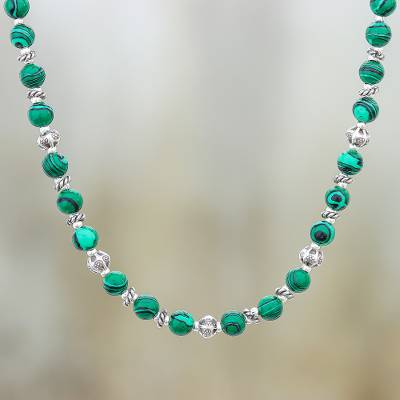 Magnesite beaded necklace, 'Green Grace' - Magnesite and Karen Silver Beaded Necklace