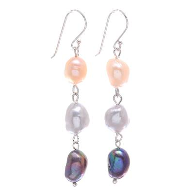 Cultured pearl dangle earrings , 'Candy Pearl' - Sterling Silver Cultured Pearl Dangle Earrings From Thailand