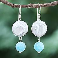 Cultured pearl and quartz dangle earrings, 'Blue Candy Sea' - Cultured Freshwater Pearl and Quartz Dangle Earrings