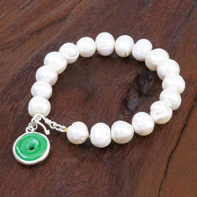 Cultured pearl and jade beaded bracelet, 'Lucky Pearl' - Artisan Crafted Jade and Cultured Pearl Bracelet