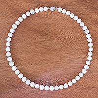 Cultured pearl strand necklace, 'Hostess' - Hand Crafted Cultured Freshwater Pearl Strand