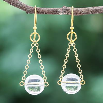 Gold-plated quartz dangle earrings, Clear Night Sky