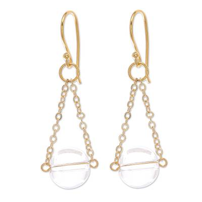 Gold-Plated Sterling Silver and Quartz Dangle Earrings