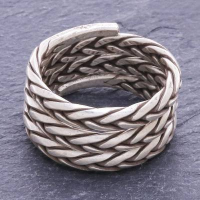 Sterling silver band ring, 'Weave and Spin' - Artisan Crafted Sterling Silver Band Ring